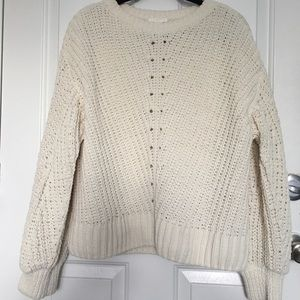 Cream Balloon-Sleeve Sweater